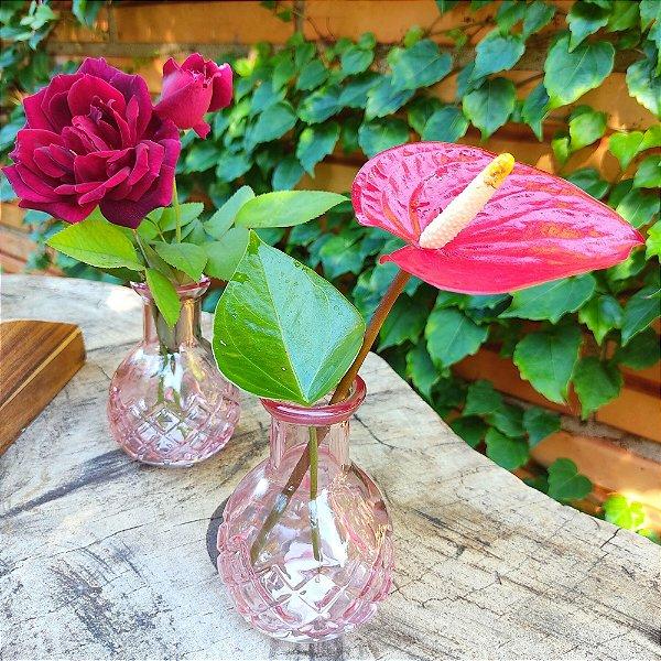 Kit Mini Vasos Vidro Rosa Claro 9,5cm 4 unidades