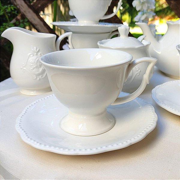 Conjunto Xícaras para Chá Porcelana Super White Queen 200ml 4 peças