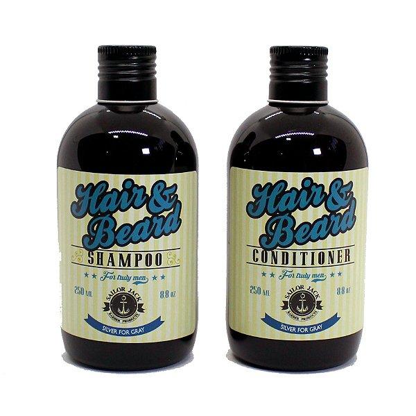 Kit Shampoo e Condicionador para barba e cabelos grisalhos - Sailor Jack