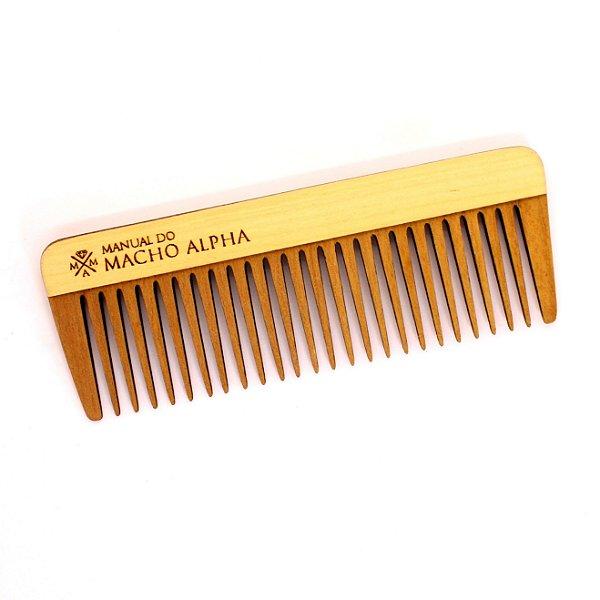 Pente de Madeira para barba média e longa Manual do Macho Alpha