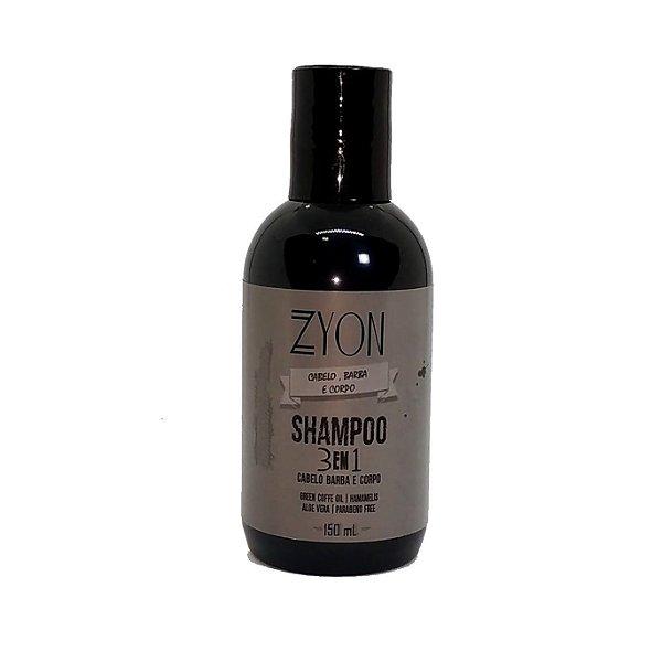 Shampoo para Barba, Cabelo e Corpo 3em1 Zyon - 150ml