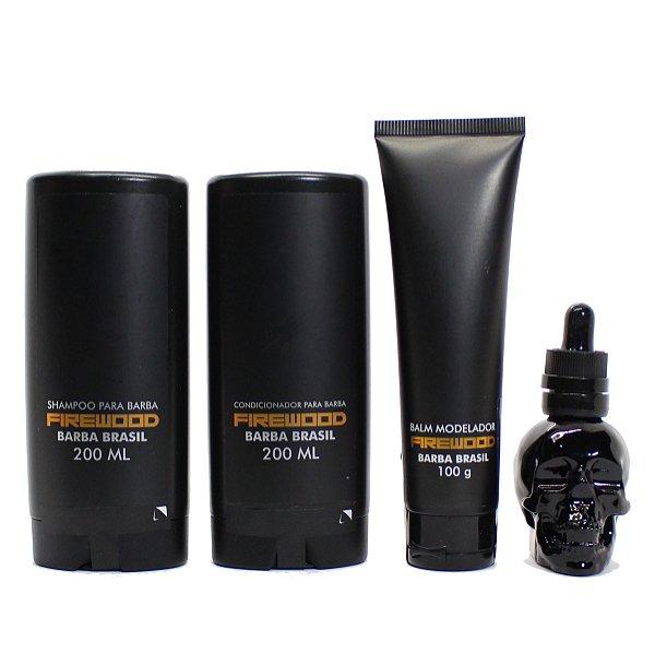 Kit Barba Brasil FIREWOOD shampoo, condicionador, balm e oleo