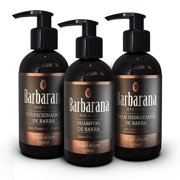 Kit Barbarana Shampoo, Condicionador e Balm de Barba