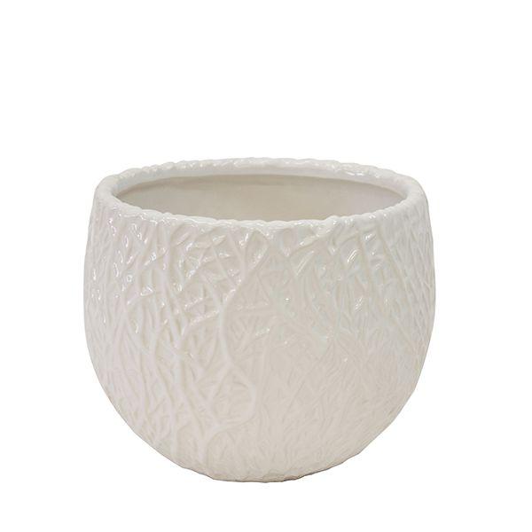 Cachepot de Cerâmica Branco - 20x18 cm