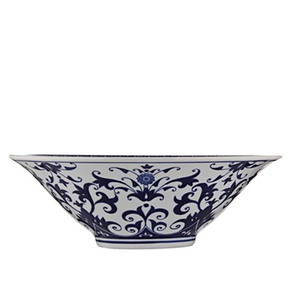 Centro de Mesa de Cerâmica Azul e Branco - 40,5x14,5 cm