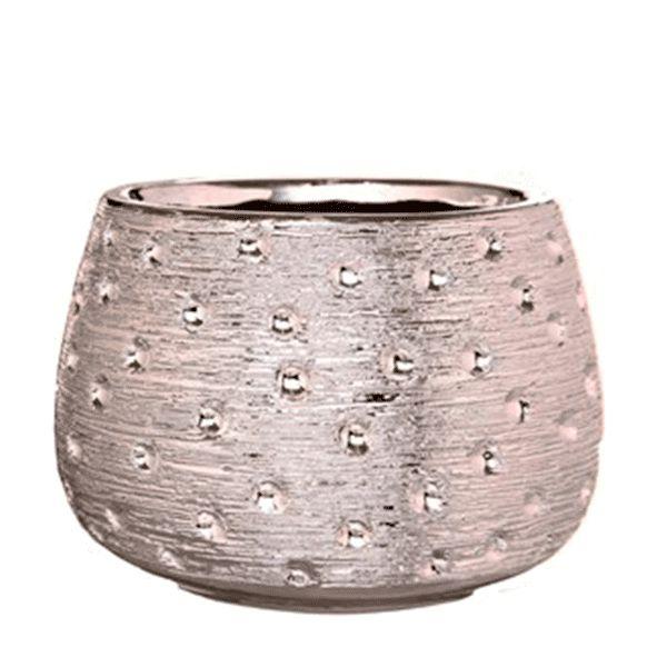 Cachepot de Cerâmica Prateado - 13x13 cm