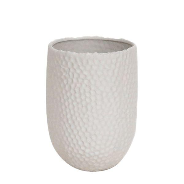Cachepot de Cerâmica Branco - 13x19 cm
