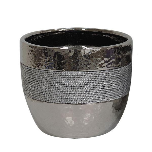 Vaso de Cerâmica Prateado - Para Flores - 21x18 CM