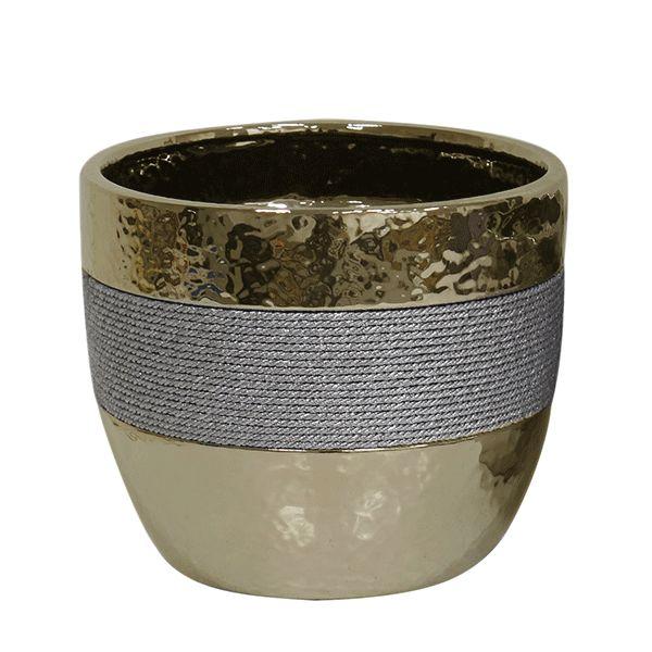 Cachepot de Cerâmica Dourado - 18x15 cm