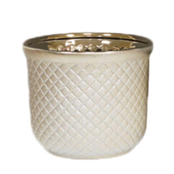 Cachepot de Cerâmica Dourado - 16x13 cm