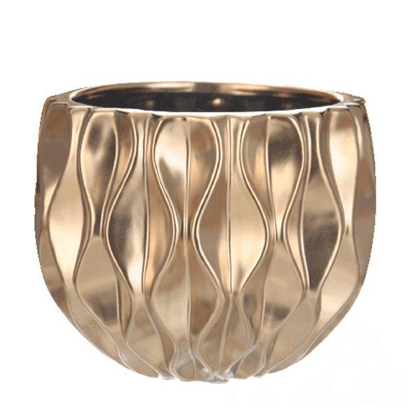 Cachepot de Cerâmica Dourado - 15x14 cm
