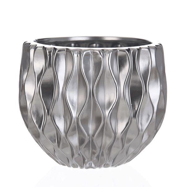 Cachepot de Cerâmica Prateado - 15x14 cm