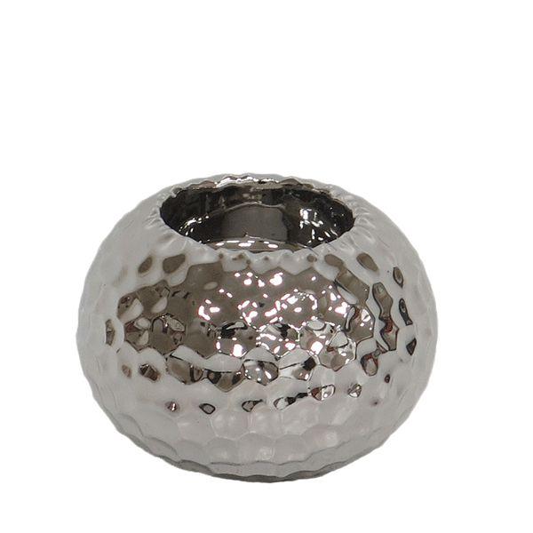 Vaso de Cerâmica Prateado - 8x6 cm
