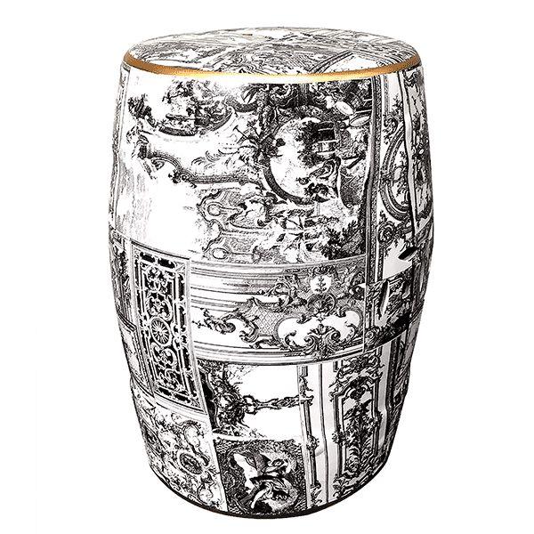 Seat Garden Branco, Cinza e Preto - Banqueta de Cerâmica Estampada - 30x46 cm