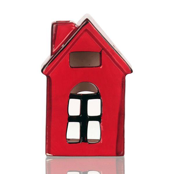 Casinha Vermelha de Porcelana para Vela Led - 9x14 cm