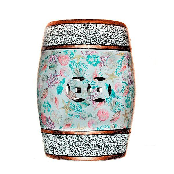 Seat Garden Azul e Rosa - Banqueta de Cerâmica Estampada - 30x46 cm