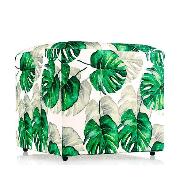 Puff  Tropical Folhas Verdes - 52x52 cm