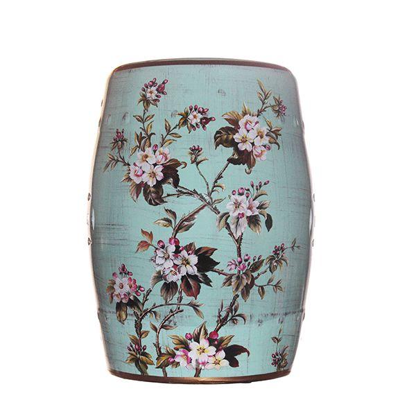 Seat Garden Azul Floral - Banqueta de Cerâmica - 30x46 cm
