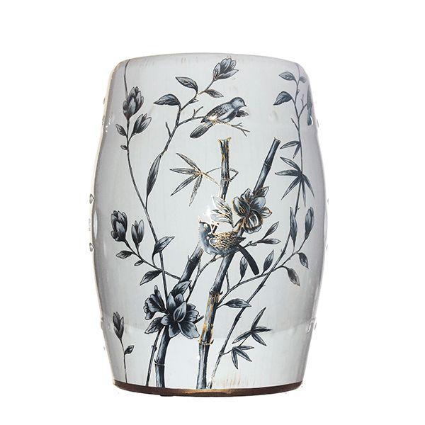 Seat Garden Branco - Banqueta de Cerâmica - Galhos - 30x46 cm