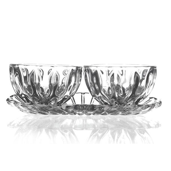 Castiçal de Cristal com 3 Peças