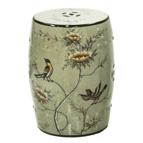 Seat Garden Verde - Banqueta de Cerâmica Estampada - Flores - 30x46 cm