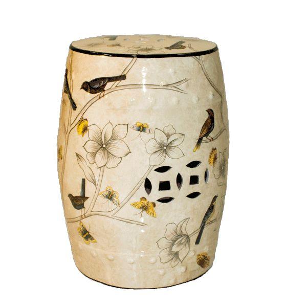 Seat Garden Marfim - Banqueta de Cerâmica - Flores - 30x46 cm