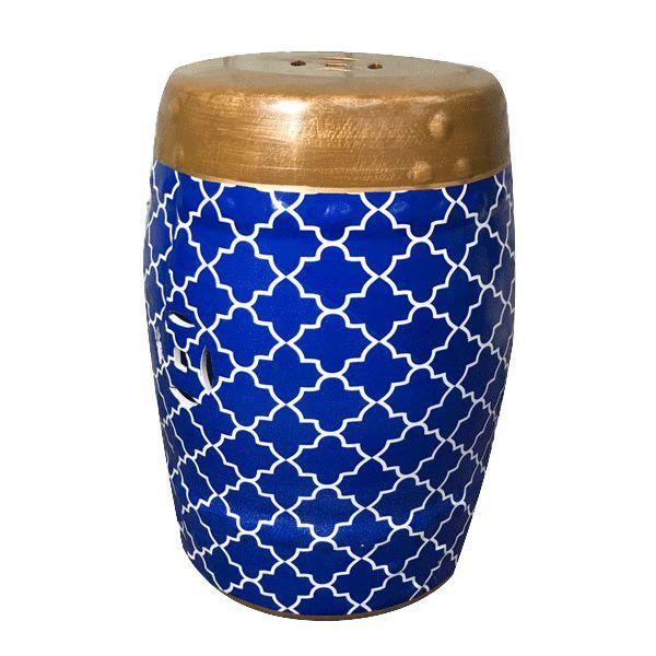 Seat Garden Azul - Banqueta de Cerâmica Estampada - 30x46 cm
