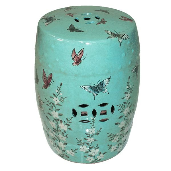 Seat Garden Verde - Banqueta de Cerâmica - Borboletas - 30x46 cm