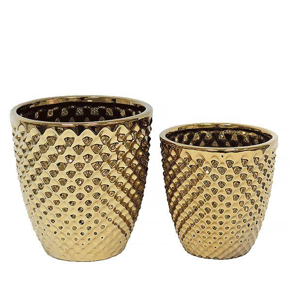 Vaso de Cerâmica Dourado - 2 Peças