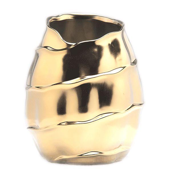Cachepot de Cerâmica Dourado - 19x23 cm
