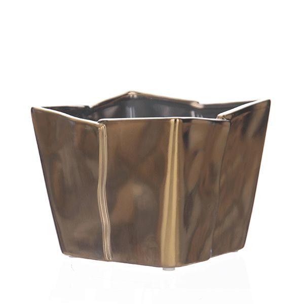 Cachepot de Cerâmica Dourado - 14x14x13 cm