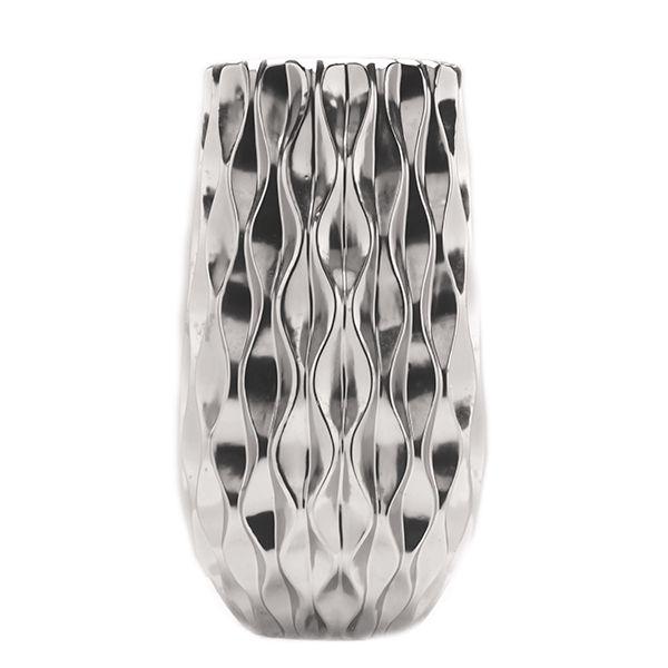 Cachepot de Cerâmica Prateado - 21x38 cm