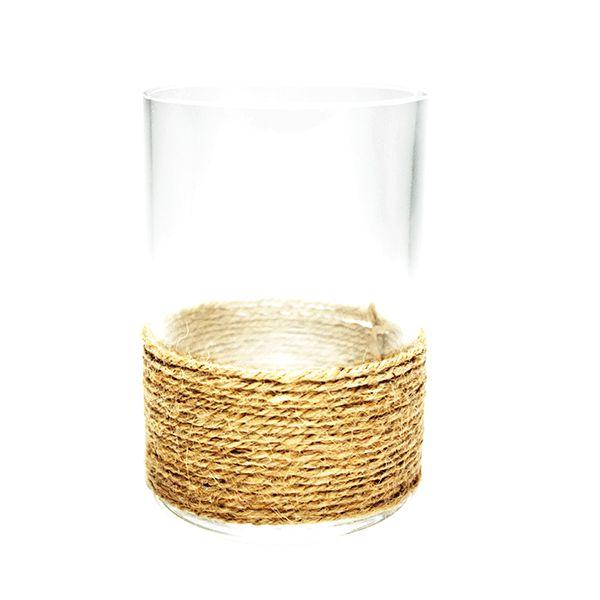 Castiçal de Vidro com Corda TAM. M - 9,5x22,5 cm