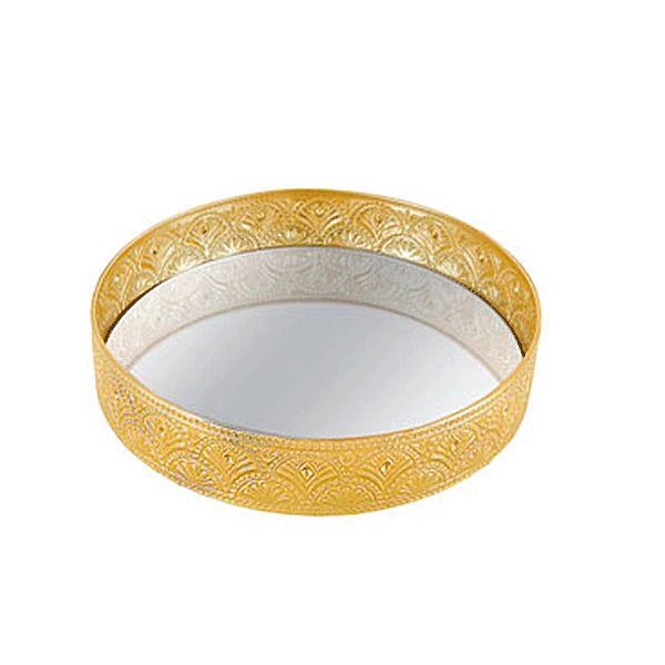 Bandeja Dourada Espelhada - 20x5 cm
