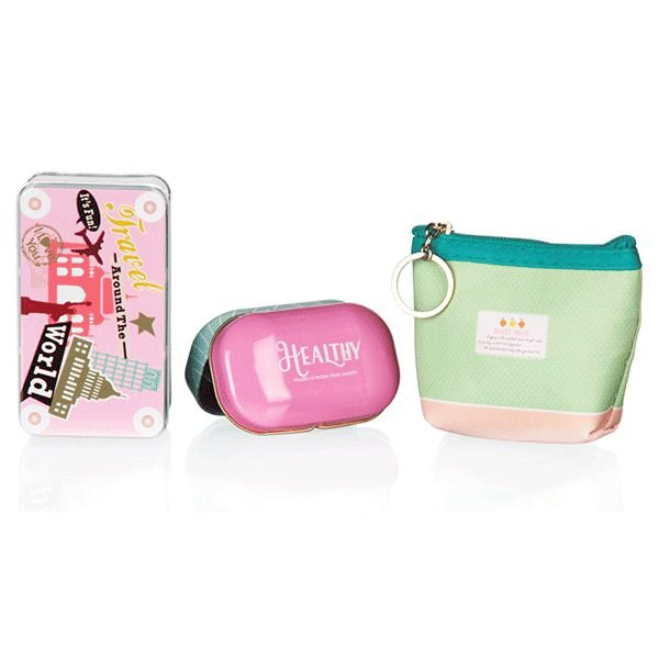 Kit de Viagem Verde e Rosa com 3 Peças