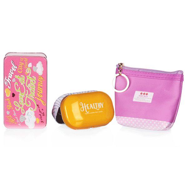 Kit de Viagem Rosa e Amarelo com 3 Peças