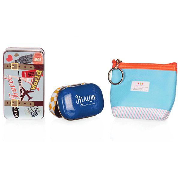 Kit de Viagem Azul com 3 Peças
