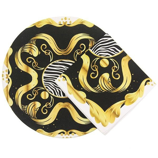 Sousplat com Guardanapo de Tecido Estampado Preto e Dourado
