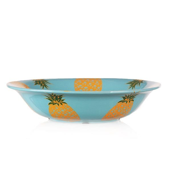 Centro de Mesa de Cerâmica Abacaxis - 35x8 cm