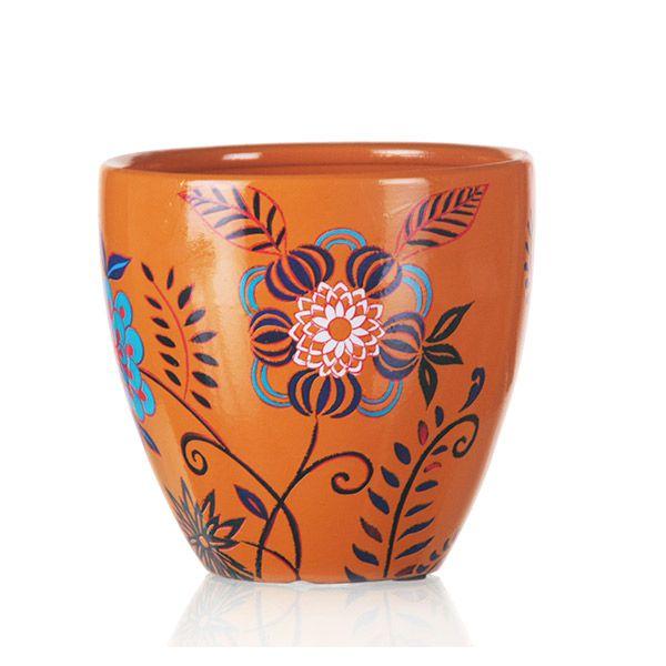 Vaso de Cerâmica Floral - 17,5x16 cm
