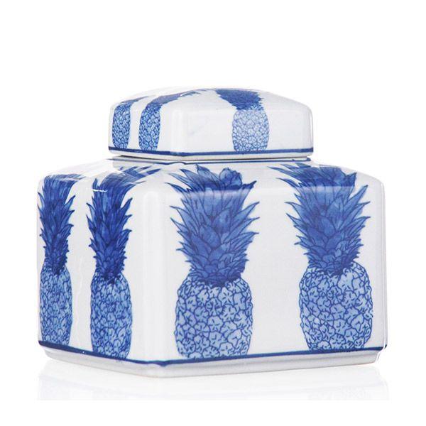 Potiche de Cerâmica Abacaxis Azuis - 15x15 cm