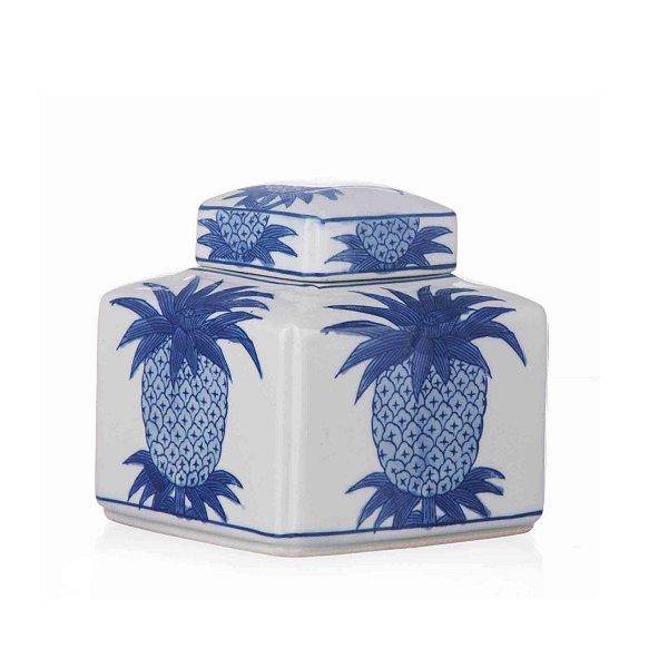 Potiche de Cerâmica Abacaxi Azul - 15x15 cm