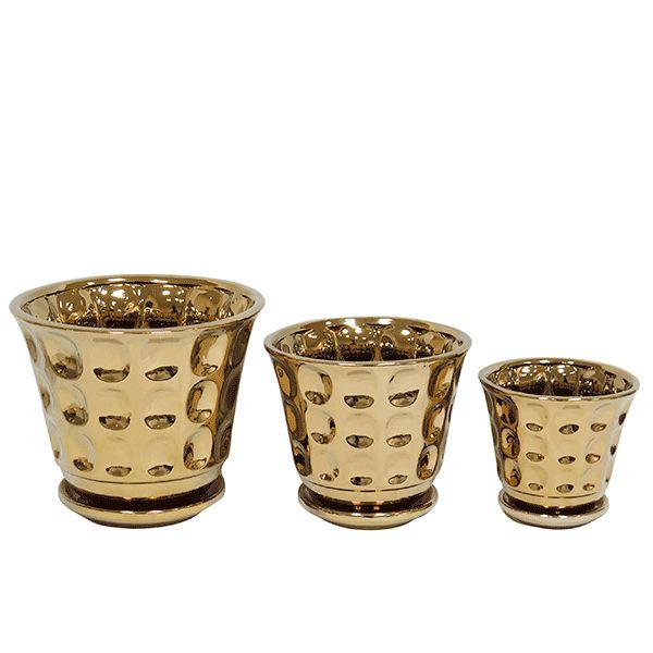 Cachepot de Cerâmica Dourado