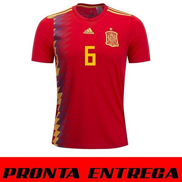 Camisa Espanha Home 2018 A. Iniesta n°6 Torcedor Adidas Masculina ... 1d2b022a0f89d