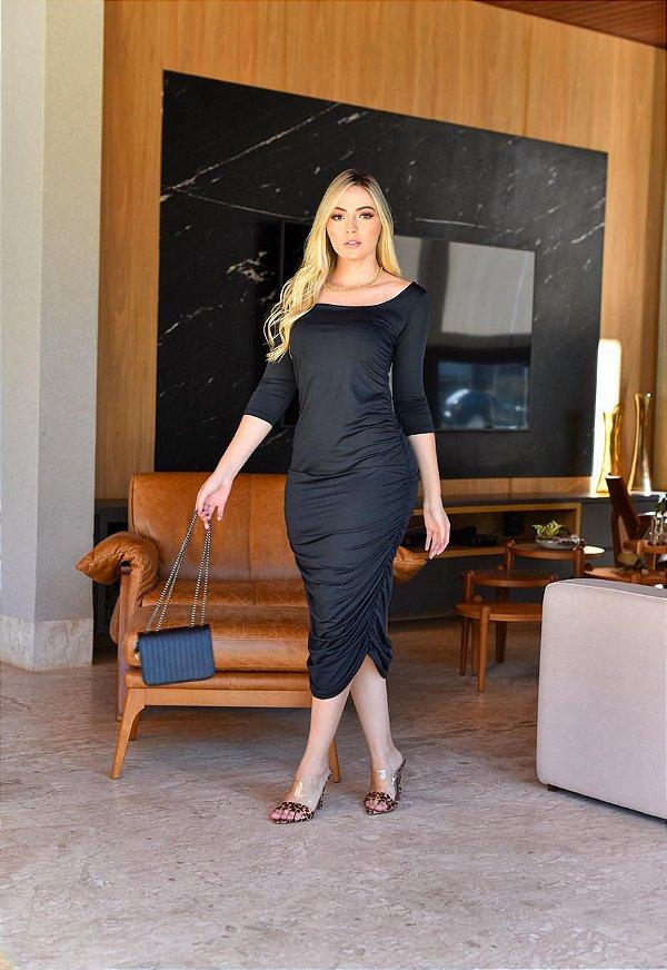 Vestido Bett Malha Canelada Com Mangas Tubinho Midi