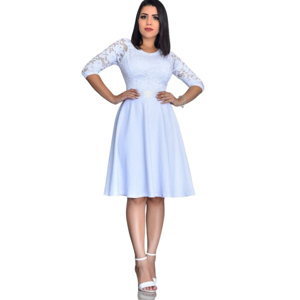 Vestido Midi Moda evangélica, Casamento, Civil, Noivado.