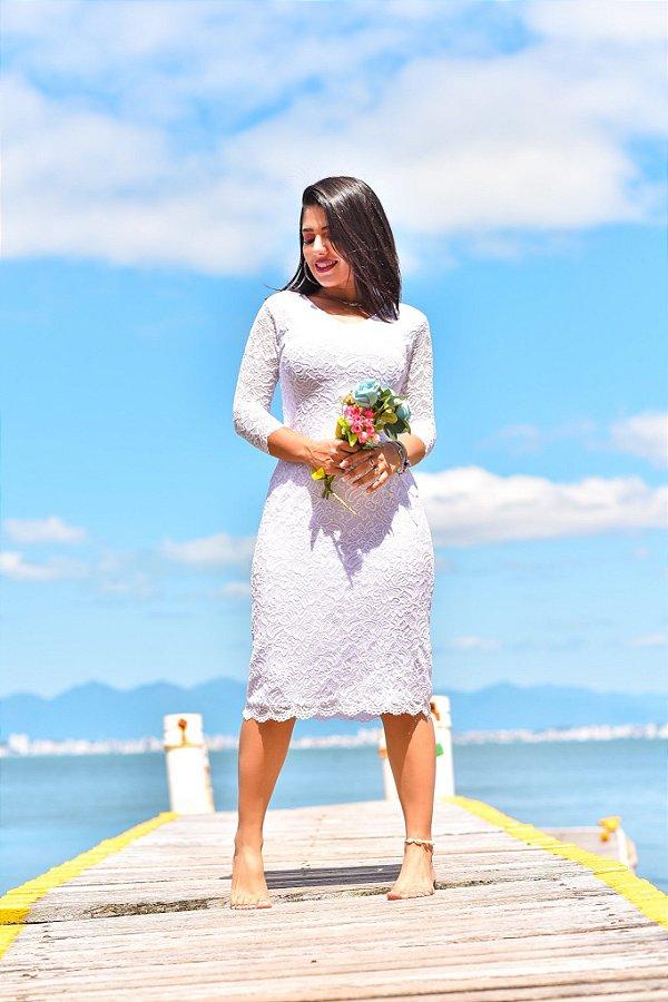 Vestido Tubinho Branco Renda Maressa