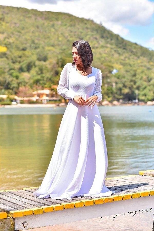 Vestido Melany Longo Manga Longa