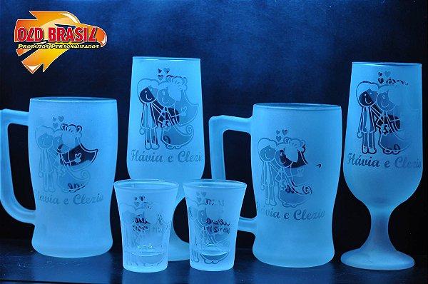 KIT - 2 canecas de chopp - 2 taças de chopp - 2 copos de dose - Vidro - Personalizados (FOSCO)