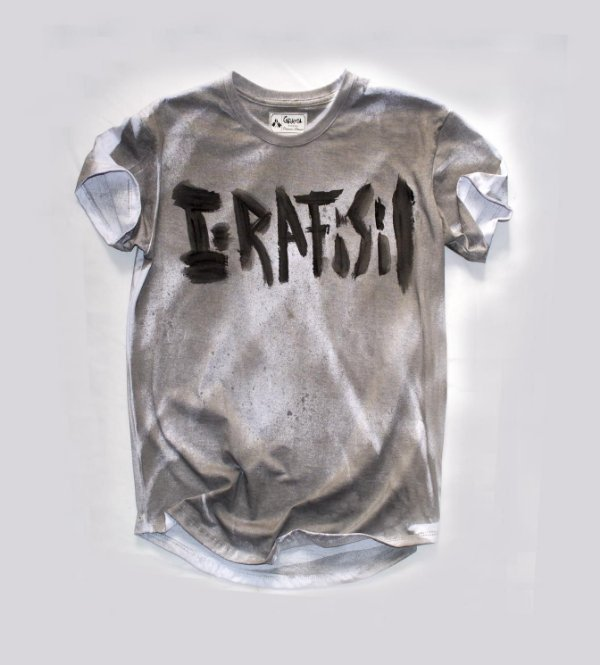 Camiseta branca Longline pulverizada